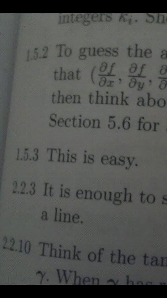 Answer section in math book