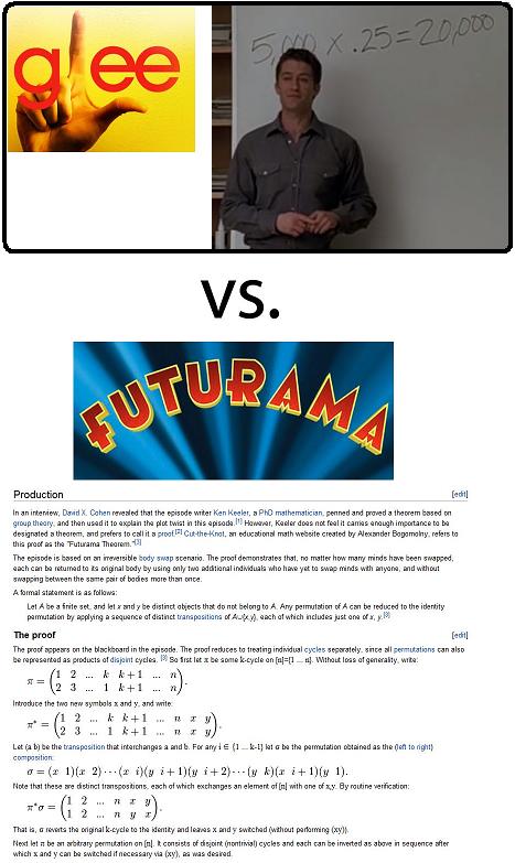 Glee vs Futurama