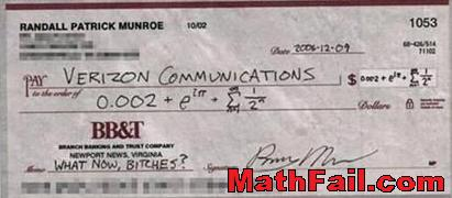 cheque to verizon communications silly math