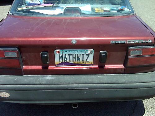 math geek license plate