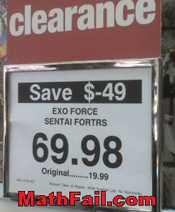 Save negative money pricing fail