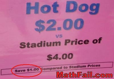 Save 1 dollar compared to stadium price fail
