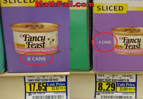 Buy 8 cans for even more than two 4 can boxes pricing fail