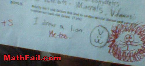 student and teacher draw lion on test exam
