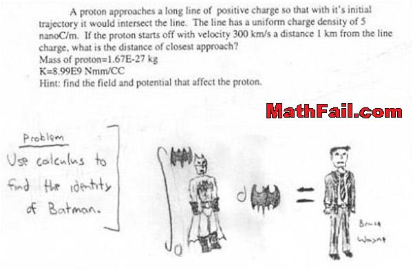 find the identity of batman by using calculus