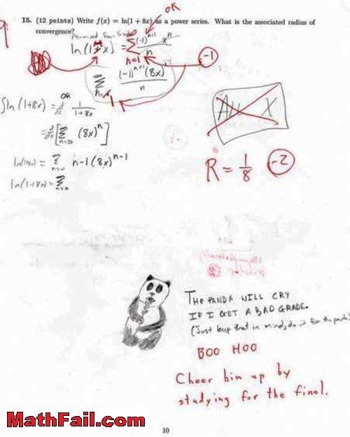 adorable panda drawn on test exam