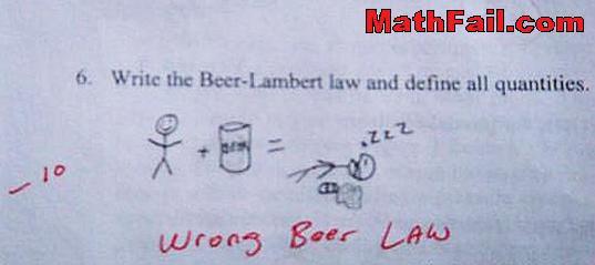 beer lambert law test exam