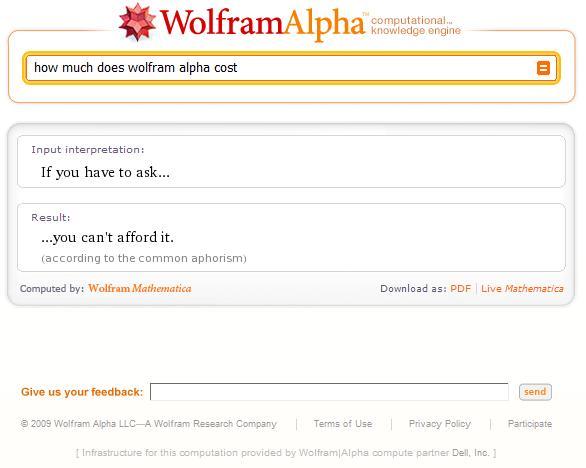 wolfram alpha cost